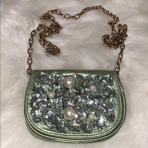 GORGEOUS deux lux clutch handbag stones and pearl